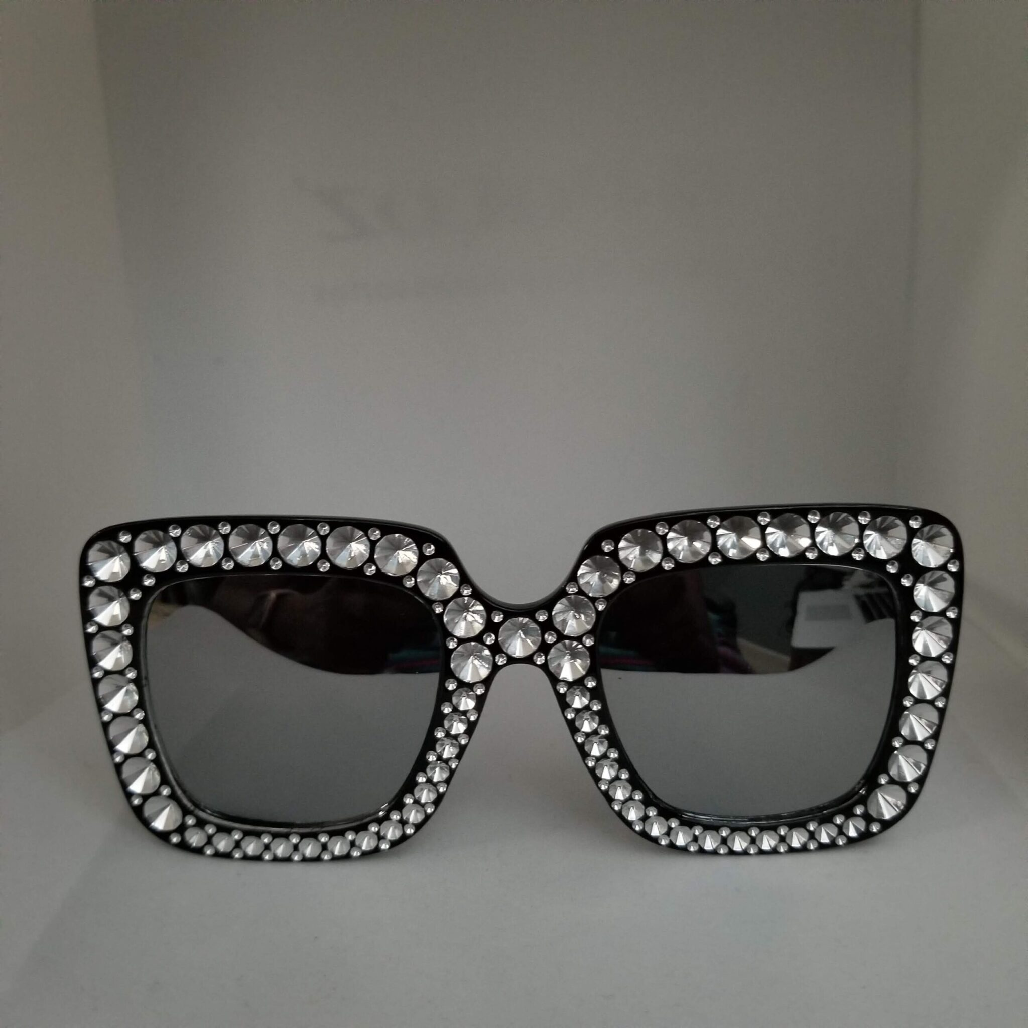 Designer Inspired Black Bling Glasses
